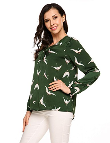 Low Chiffon Hem V Women's Neck Green Top Blouse Print High SoTeer Casual qwS0xa
