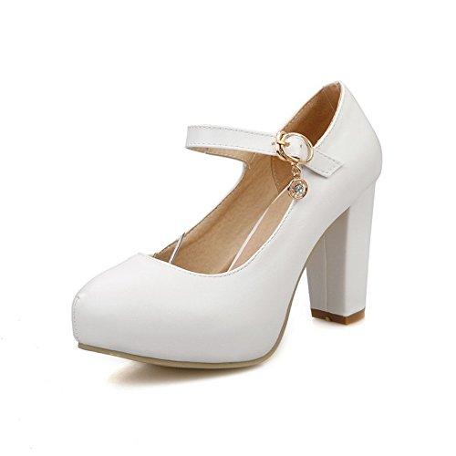 1to9 Trendi Valkoinen Polyuretaani Roman Uusi Naisten Sandaalit Kiinteä Solki H4SgBqH