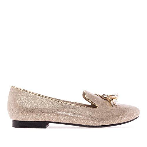 Andres Machado. AM5143.Zapatos Slippers Grabado ante .Mujer.Tallas Grandes. 42/45. Oro