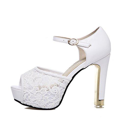 - GATUXUS Lace Open Toe Women Platform High Heel ShoesParty Pumps Prom (7 B(M) US, White 2)