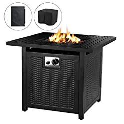 Firepits OKVAC 28″ Propane Gas Fire Pit Table, 50,000 BTU Square Fire Bowl, Outdoor Auto-Ignition Fireplace with CSA Certification, Waterproof Cover, Lava Rock, for Balcony/Garden/Patio/Courtyard firepits