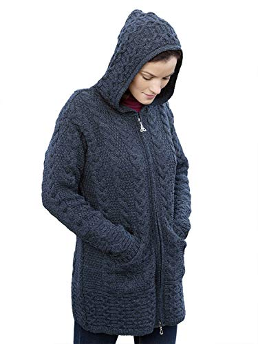 (100% Irish Merino Wool Ladies Hooded Aran Zip Sweater Coat, Charcoal,)