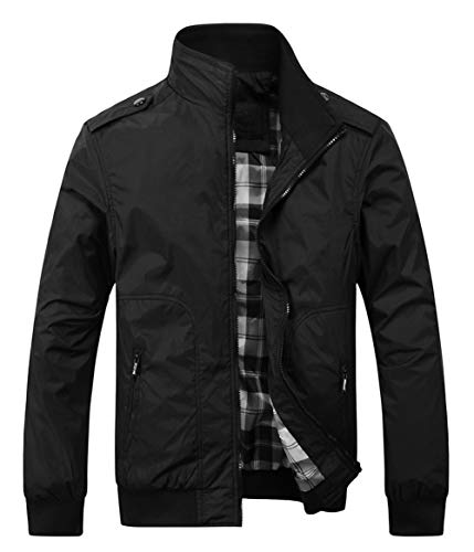 Springrain Men's Casual Stand Collar Slim Bomber Jacket (Large, Black4)