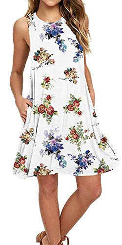 Summer Beach Dresses for Women Tshirt Sundresses Boho Casual Sleeveless Floral Shift Pockets Swing Loose Damask WF Small