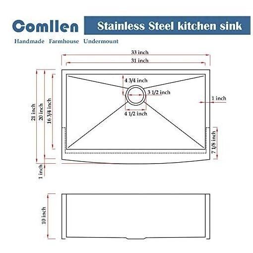 Farmhouse Kitchen Comllen Commercial 33 Inch 304 Stainless Steel Farmhouse Sink, Single Bowl Kitchen Sink 16 Gauge 10 Inch Deep Handmade… farmhouse kitchen sinks