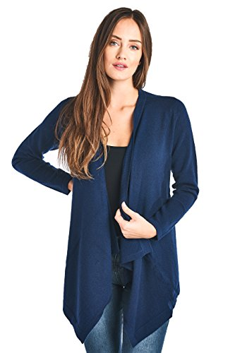 Cashmere Long Sleeve Wrap (High Style Women's 100% Cashmere Long Sleeve Drape Front Asym Hem Open Cardigan Sweater (17619, Peacoat, S))