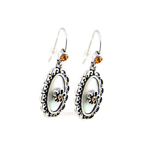 Victorian White Floral Earrings Mother of Pearl