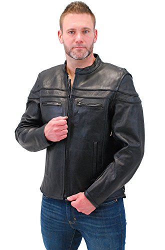 Jamin' Leather Vented Naked Leather Motorcycle Jacket - Scooter (M) #M262NZ Black