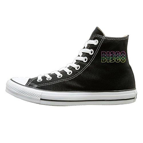 Mens Gold Shoes Disco (Edgar John Retro Disco Unisex Classic High Top Canvas Shoes Fashion Sneaker 39)