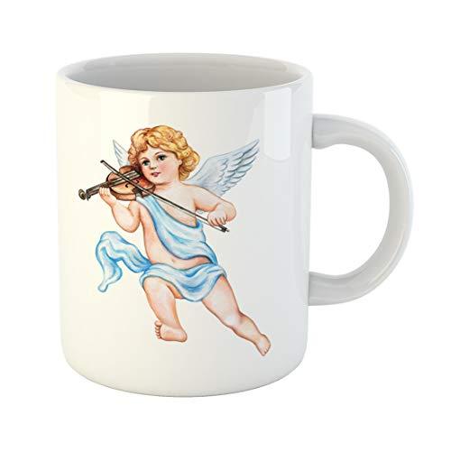 - Semtomn Funny Coffee Mug Cupid Angel Violin Watercolor Vintage Clipart Valentine Day Drawing 11 Oz Ceramic Coffee Mugs Tea Cup Best Gift Or Souvenir