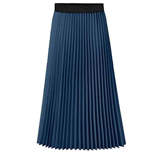 (Howriis Women's Summer Chiffon Pleated A-line Midi Skirt Dress (Small, A Navy))
