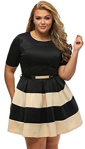 Arctic Cubic Sexy Plus Size Short Sleeve Waist Belt Belted Striped Stripe Colorblock Mini A-Line Dress Apricot Black XL