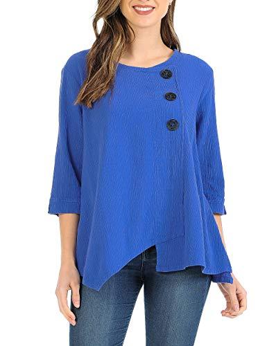Focus Fashion Women's Cotton Crinkle Gauze Tunic-CG102 (Large, Violet)