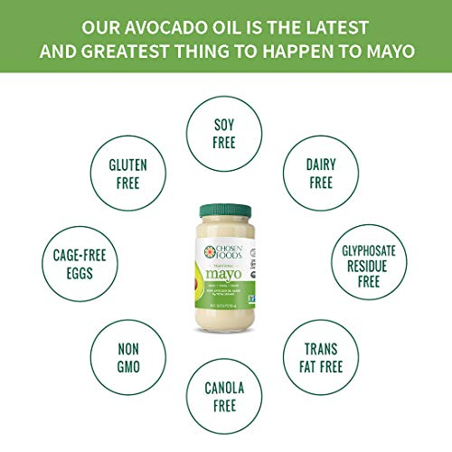 Chosen Foods Avocado Oil Traditional Mayo 24 oz., Non-GMO, 100% Pure, Unsweetened, Gluten Free, Dairy Free for Sandwiches, Dressings and Sauces