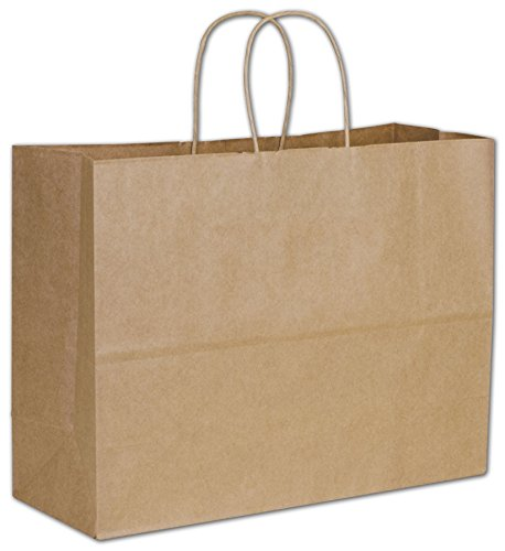 Solid Color Pattern Shopping Bags - Kraft Paper Shoppers Vogue, 16 x 6 x 12 1/2'' (250 Bags) - BOWS-29-8 by Miller Supply Inc