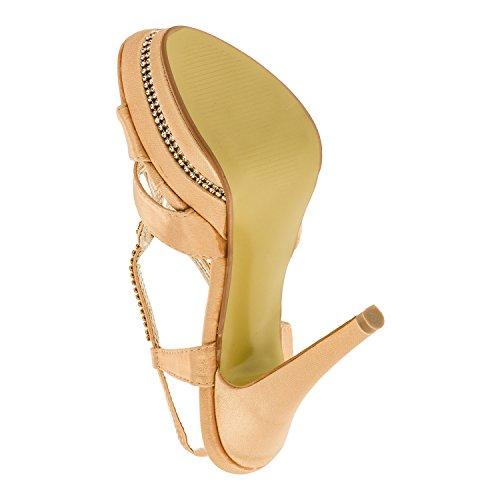 Damen Pumps High Heels Plateau Sandaletten Stiletto Freizeit Party Schuh Absatz in vielen Farben M309go Gold
