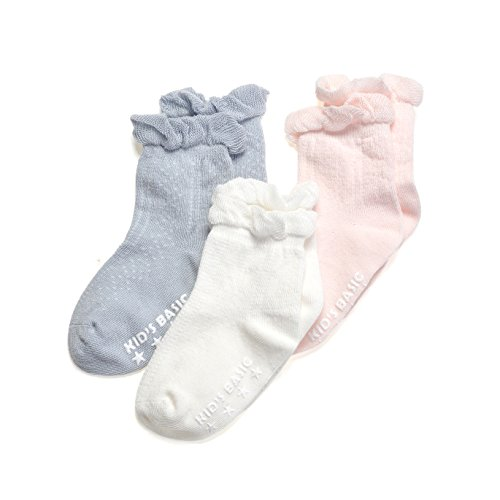 Epeius Baby-Girls Non Slip Ruffle Frilly Ankle Socks Pointelle (Pack of 3/6)