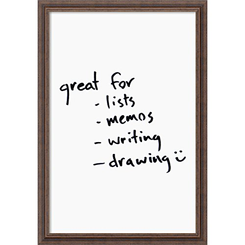 Amanti Art Framed Dry Erase Board Large, White: Outer Size 23 x 33, Distressed Rustic Wood