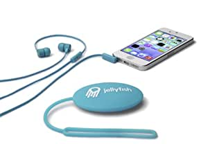 Jellyfish Tune Buds Flat Cable In-Ear 3.5mm Earbuds with Microphone and Storage Case - Retail Packaging - Bodacious Blue