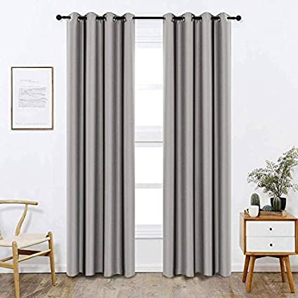 Bedroom Curtains Blackout Curtain Panels (Gray Color) 48x84 Inch 1 Pcs,  Insulating Energy Saving Solid Rod Pocket Blackout Drapes Long, Burlap  Extra ...