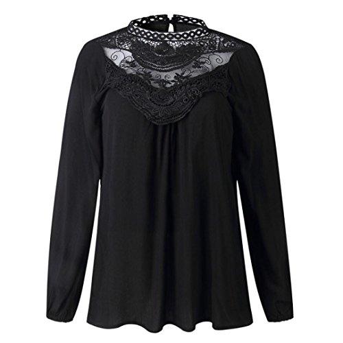 Casual Shirt Nouveau Longues Femmes Mode Noir Printemps O Automne T 2018 vider Nouveau Tops Cou Manches zahuihuiM Dentelle Blouse 7YqIOwI