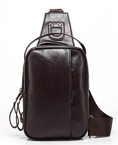 Bolsos de hombres Xinmaoyuan Pu hombres de negocios, los pechos al hombro sección vertical de color puro bolsa impermeable, negro Brown