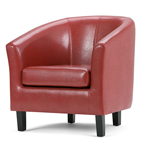 Red Leather Living Room (Simpli Home Austin Faux Leather Accent Tub Chair, Red)