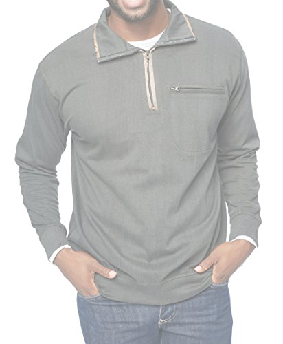 dfa57f77f7f Coofandy Men s Relaxed Fit Quarter Zip Mock-Neck Sweatshirt Collared Pullover  Polo Shirt