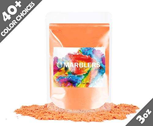 Marblers Powder Colorant 3oz (85g) [Dry Orange] | Pearlescent Pigment | Tint | Pure Mica Powder for Resin | Dye | Non-Toxic | Great for Epoxy, Soap, Nail Polish, Cosmetics and Bath Bombs