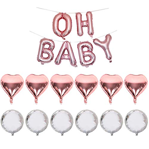 (OH Baby Mylar Letter Balloons Rose Gold Baby Shap Foil Letter Balloon with Heart Balloons Kit for Baby Shower Welcome New Baby Home Party Decorations)