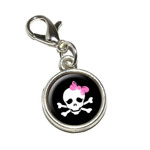 ulls and Crossbones Daughter Stick Figure Family Girl Antiqued Bracelet Pendant Zipper Pull Charm with Lobster Clasp (Stick Figure Girl)