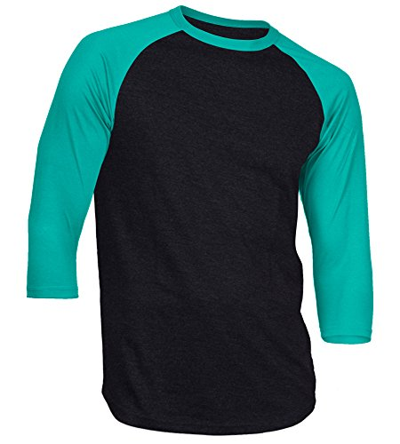 - Dream USA Men's Casual 3/4 Sleeve Baseball Tshirt Raglan Jersey Shirt Black/TiffBlue 2XL