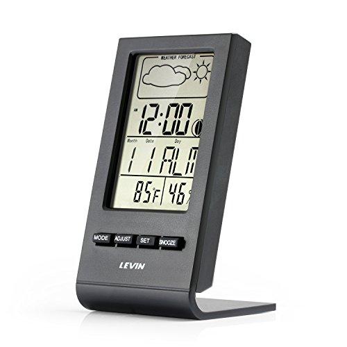 Thermometer Hygrometer,Levin Wetterstation für Home und Office mit LCD-Schirm-Monitor,Digital-Wecker, Weatherprophet und Digital-Kalender(Schwarz)