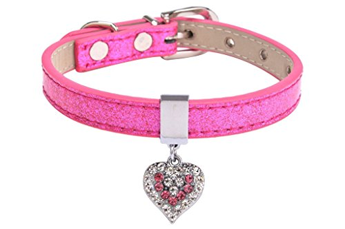 EXPAWLORER Leather Dog Collar Personalized Pet Puppy Cat Girl Collars with Rhinestone Heart pendant Pink Medium
