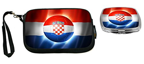 Rikki Knight Brazil World Cup 2014 Croatia Football Soccer Flag Design Neoprene Clutch Wristlet with Matching Square Compact Mirror by Rikki Knight