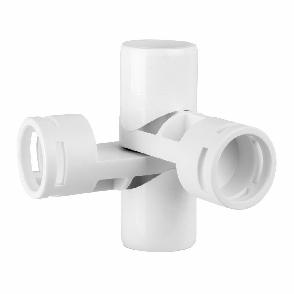 PVC- Adjustable joint fitting 1'' 4-Way (Furniture Grade White)