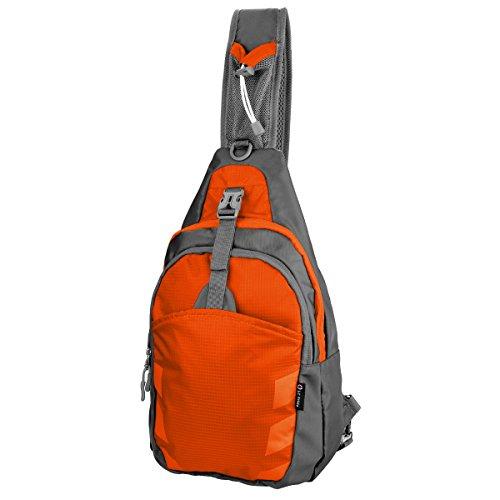 Sling Bag Chest Shoulder Unbalance Gym Fanny Backpack Sack Satchel Outdoor Bike nylon fabric Orange, by LC (Prima Power Supply)
