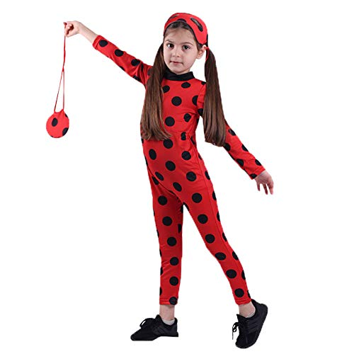 Fanstyle Kids Costume Miraculous Ladybug Jumpsuit Carnival Cosplay Costumes Polka-dot Bodysuit Bag Eye Mask 3pcs Red