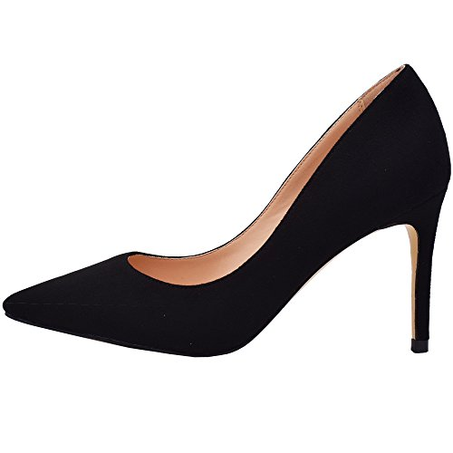 Lovirs Womens Black Suede Office Basic Slip on Pumps Stiletto Mid-Heel Pointy Toe Shoes for Party Dress 9 M US