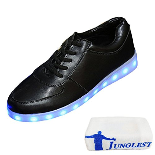 [Present:small towel]JUNGLEST® 7 Colors USB Charging LED Lighted Luminous Couple Casual Sport Shoes Sneakers for Unise Black jQXZ7