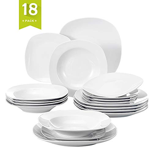 Malacasa ELISA-18 Soup Dessert Cups Saucers 18-Piece Porcelain Dinnerware 6 Person, Bowls Sets with Dinner Plates, Pack, Elisa