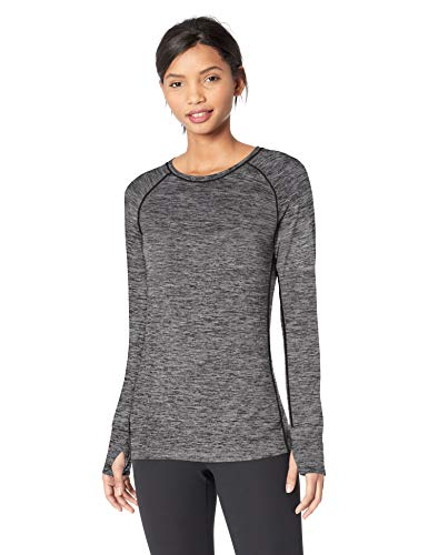 (Amazon Essentials Women's Brushed Tech Stretch Long-Sleeve Crew, Dark Grey Space dye, Large )