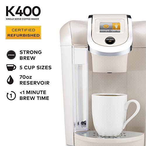 Keurig K400 Coffee Maker, One Size, Sandy Pearl (Renewed)