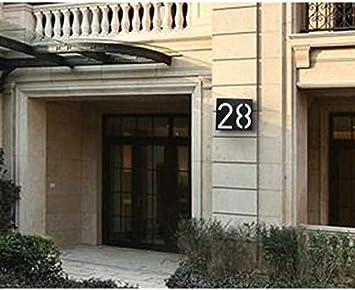 No.0 No.0 Black Numeri civici Moderni a LED ad energia Solare LAIYYI ABS Impermeabili 17,8 cm targhetta per indirizzo Numero Decorazione per la Porta della casa da 0 a 9 IP55