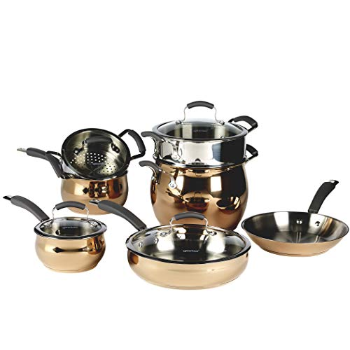18 10 Stainless Steel Cookware - Epicurious 11-Piece Brilliance TI 18/10 Stainless Steel Cookware Set in Rose Gold (Rose Gold)