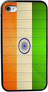 Rikki KnightTM India Flag on Distressed Wood Design iPhone 5 & 5s Case Cover (Black Rubber with bumper protection) for Apple iPhone 5 & 5s