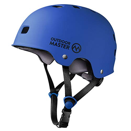 OutdoorMaster Skateboard Helmet - CPSC Certified Lightweight, Low-Profile Skate & BMX Helmet with Removable Lining - 12 Vents Ventilation System - for Kids, Youth & Adults - L - Deep Blue