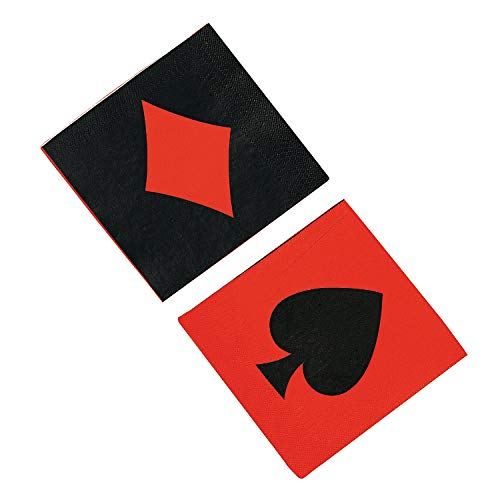 Fun Express - Casino Lunch Napkins for Party - Party Supplies - Print Tableware - Print Napkins - Party - 16 Pieces