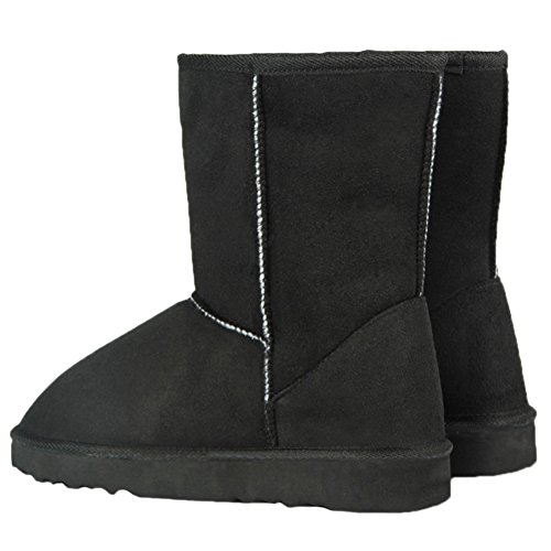 HooH Women's Snow Boots Winter Suede Warm Faux Fur Thicken Mid Calf Boots Slip On Black eQbCB
