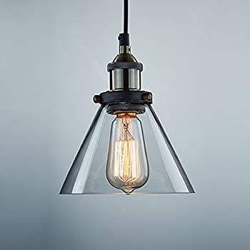 CLAXY Ecopower Antique Industrial Mini Glass Pendant Lighting 1 Light  Fixture